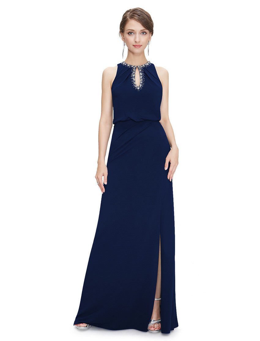 Midnight blue floor length dress