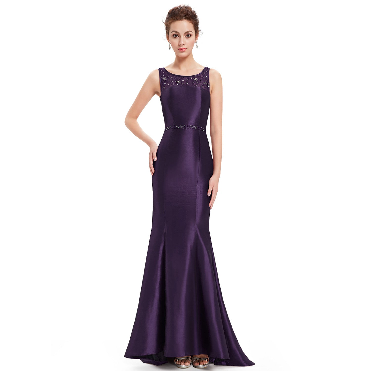 Rhinestone Sleeveless Fishtail Evening Dress - Multiple Color Options