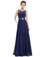 Navy Blue Pleated Long Dress with Sequin Appliqué