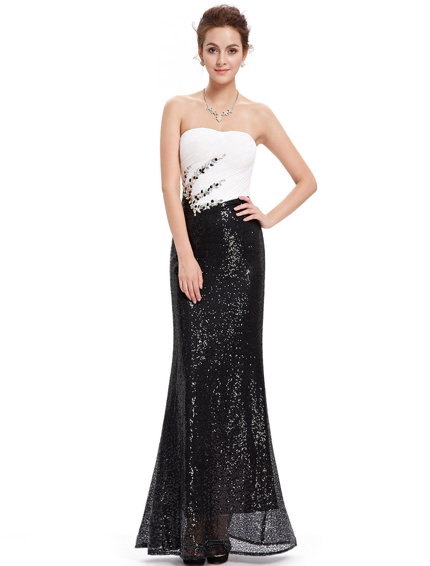 Black and White Strapless Long Evening Dress