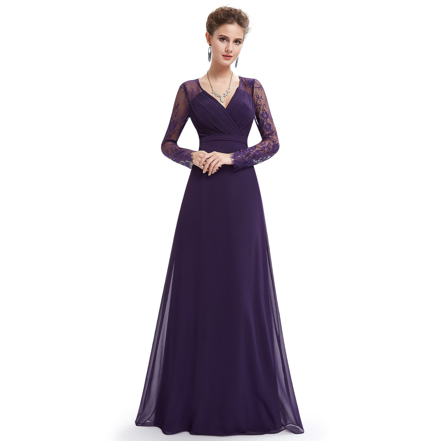Purple V-neck Long Sleeve Evening Dress