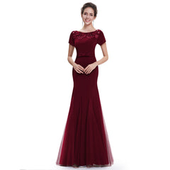 Burgundy Floral Applique Fishtail Evening Gown