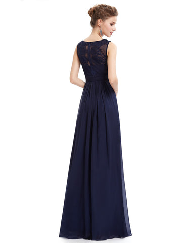 Navy Blue A Line Formal Dress