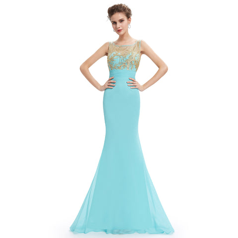 Fishtail Teal Party Gown