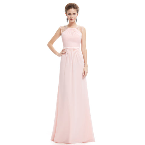 Sleeveless with Pearl Beads Pink Evening Dress