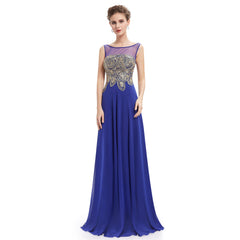 Sleeveless Rhinestone Bodice Evening Dress