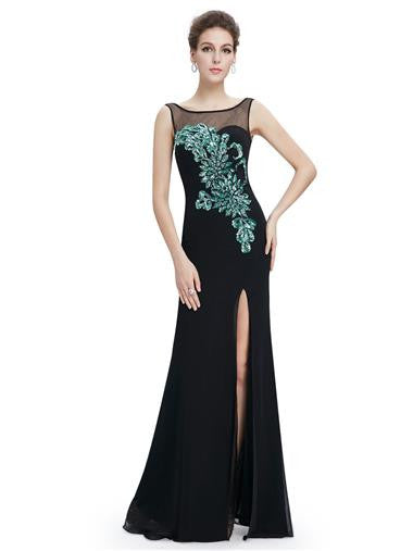 Black and Emerald Sequin Evening Dress