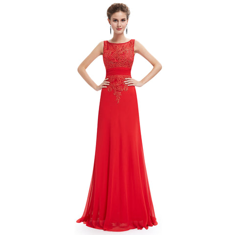 Sleeveless Vermillion Formal Dress