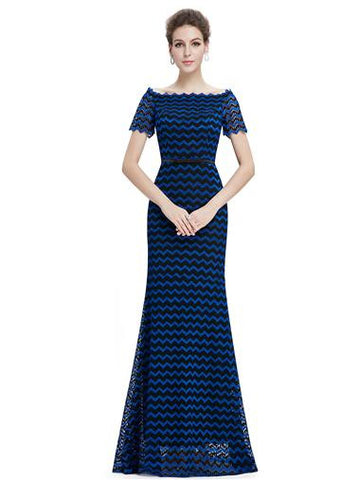 Elegant Blue Boat V – neck Lace Evening Dress