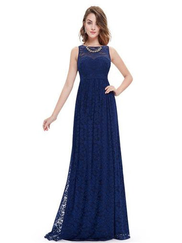 Navy Blue Floral Lace Evening Dress