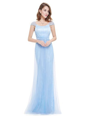 Ice Blue Square Neck Evening Dress