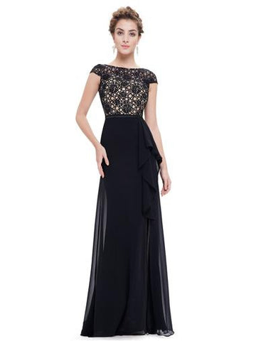 Elegant Black Formal Dress with Unique Rose Pattern