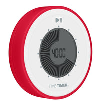 Round visual timer set to 40 minutes at a 45 degree angle. The Time Timer TWIST is white on the front and red on the side.