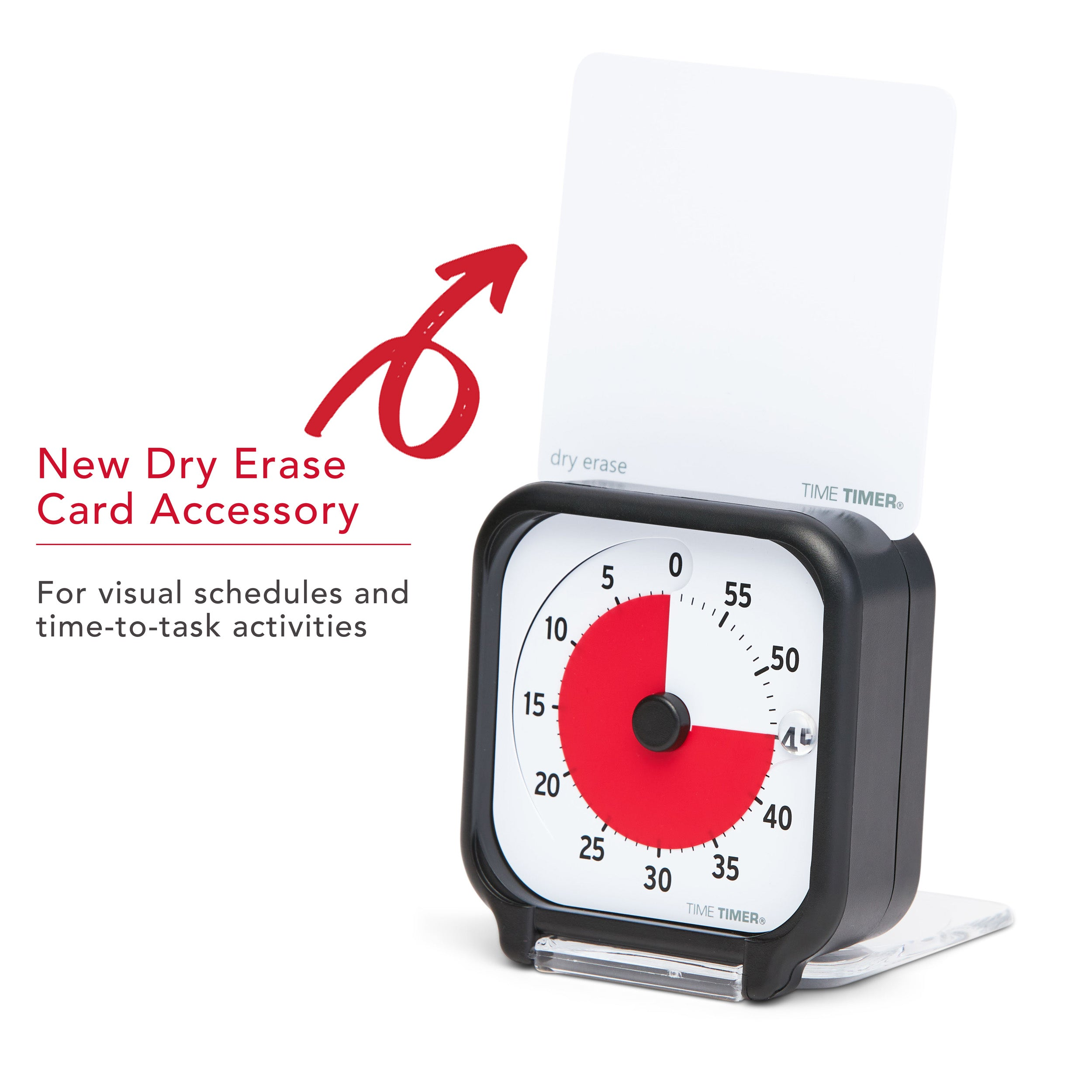 Time Timer Original 3 inch Visual Timer - Pocket. The Time Timer Original 3-inch comes with a 3.5x3.5 inch Sry Erase Activity Card that slides into the slot on the top of the timer. This allows you to write or draw tasks or activities for time-to-task focus or a visual schedule.