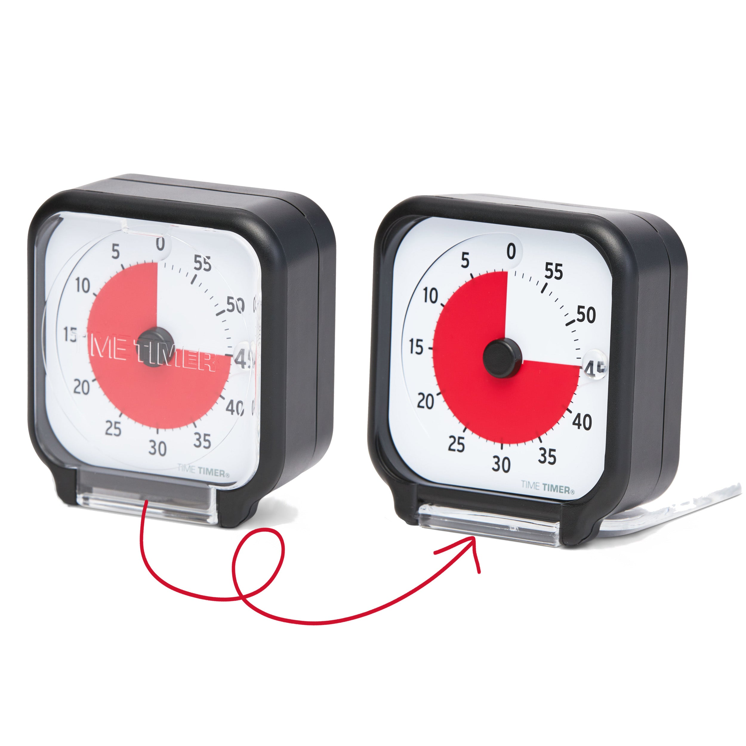 Time Timer Original 3 inch Visual Timer - Pocket. The Time Timer 3-inch has a clear lid. When closed, it protects the timer, and the red disk can be seen through it. When it is open, it folds under the timer, and acts as a stand for the timer to be placed on any flat surface.