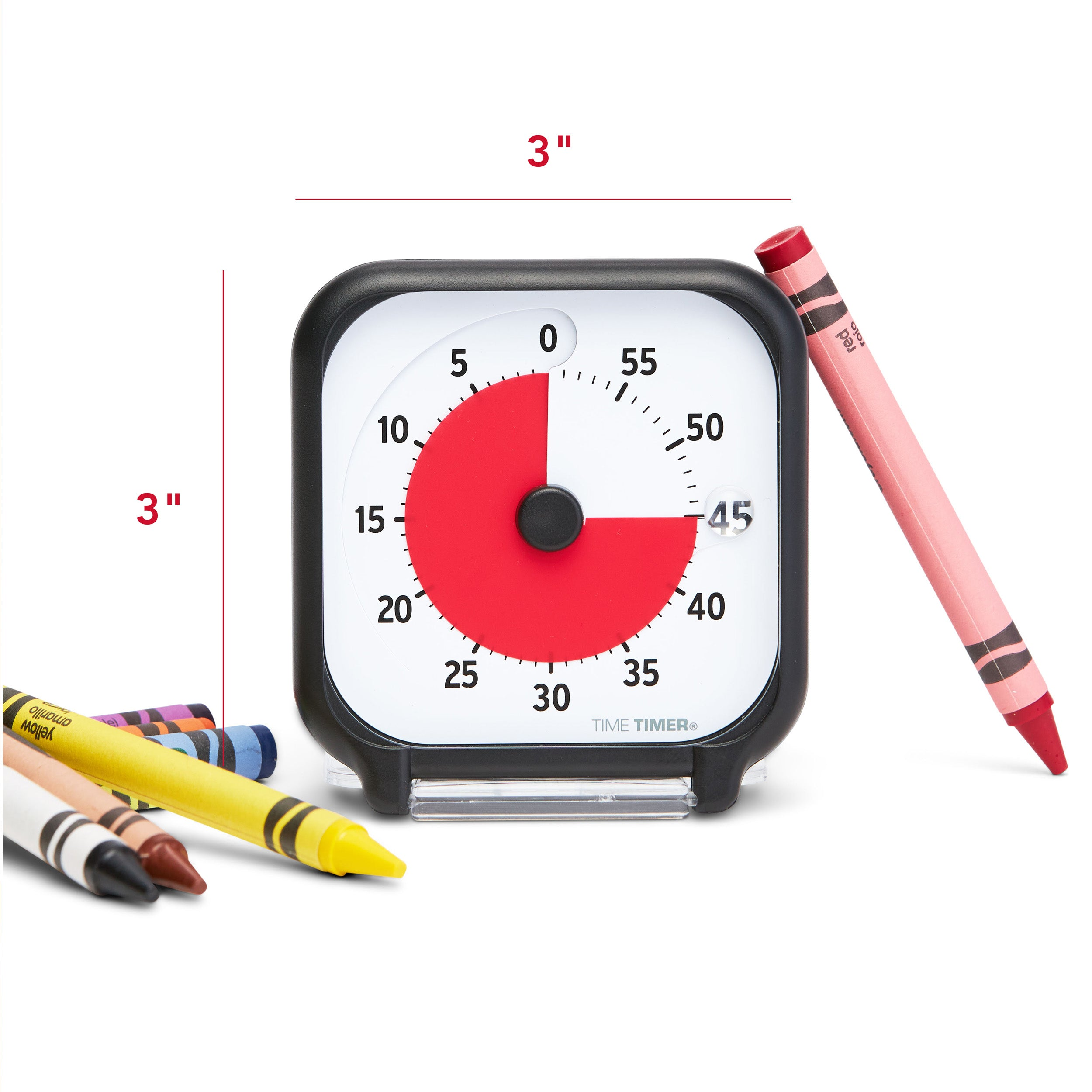 "Time Timer Original 3 inch Visual Timer - Pocket. The Time Timer 3-inch is a small potable size at 3x3"". Image shows timer sitting next to Crayons as a size reference."
