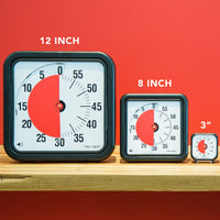 The wide variety of time timer sizes ranging from 3 inches to 12 inches.