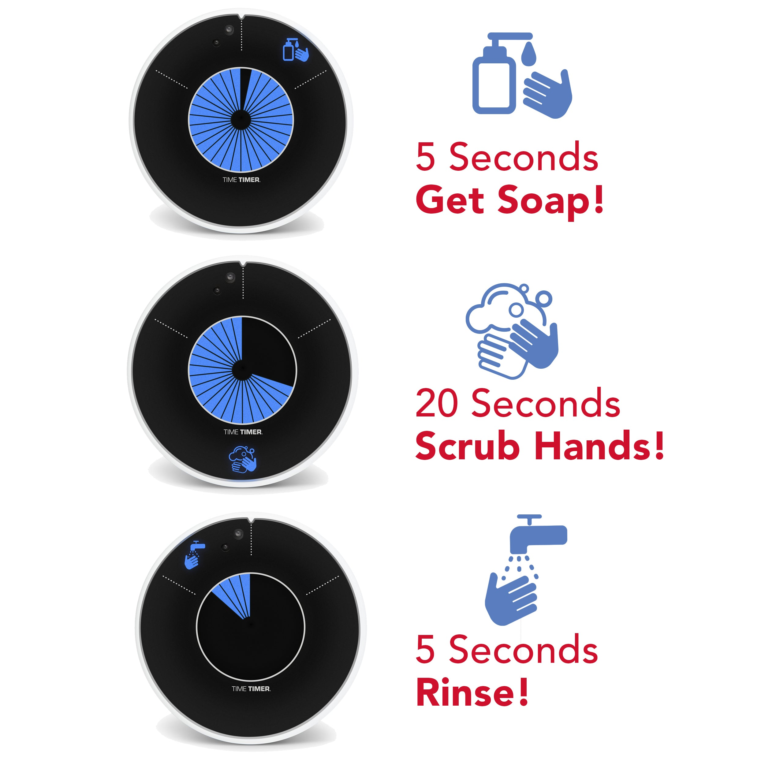 The Time Timer WASH visual timer for handwashing breaks handwashing steps into 3 simple segments. First, 5 seconds for getting soap. Second, 20 seconds for scrubbing (as recommended by the CDC - Center for Disease Control and the WHO World Health Organization. Lastly, 5 more seconds to rinse. 30 seconds in total.