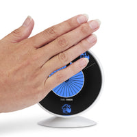 The Time Timer WASH visual handwashing timer is touchless. The timer starts with by simply holding ot slowly waving the hand in front of the device.