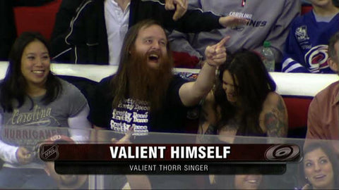 Valient Himself - Valient Thorr Metal God Lead Singer with a Pretty Deece Cheap Trick shirt on at a Carolina Hurricanes Hockey Game