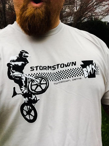 Stormstown BMX shirt - EIGHTONEFOUR - White /Black ink on American Apparl Silver shirt