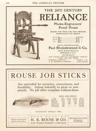 Reliance Engravers Ad 1905