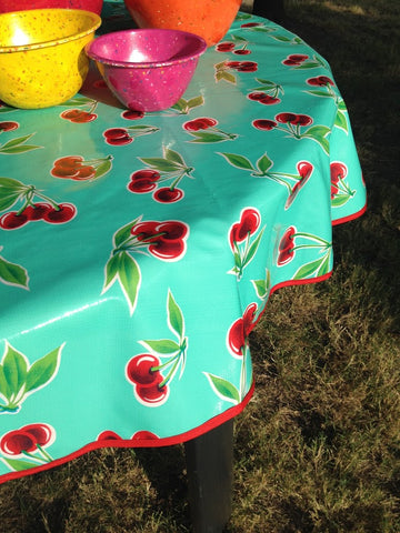 Round Oilcloth Tablecloth AQUA CHERRY Oil Cloth Pattern