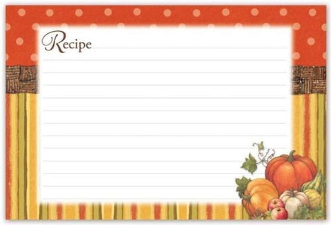 "BrownLow Gifts 4"" x 6"" Recipe Cards, Autumn Harvest - Package of 36"