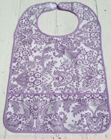 "Adult Bib, Oil Cloth ~ Purple Lace ~ 25"" x 16"""