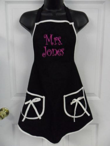"Women's Flirty Adult Apron,  Black with ""Mrs Jones"" Custom Embroidery"