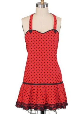 Betty Boop Style Adult Apron, Red Polka Dot w/ Black Lace
