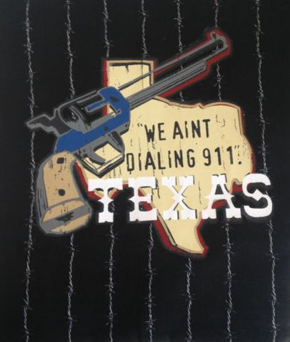 "Butcher Style Adult Apron by ASD Living, Texas Barbed Wire Design, ""We Ain't Dialing 911"""