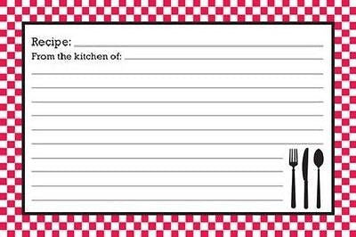 "BrownLow Gifts 4"" x 6"" Recipe Cards, Red & White Bistro - Package of 36"