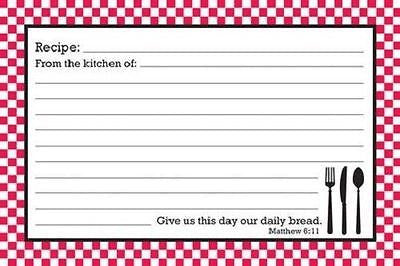 "BrownLow Gifts 4"" x 6"" Recipe Cards, Red & White Bistro w/ Scripture - Package of 36"
