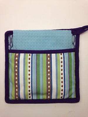 Pot Holder and Dish Towel by Split P, 2 Piece Set, Purple & Aqua Design