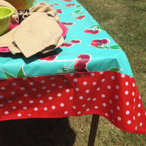 47.5 Oilcloth Tablecloth Square AQUA CHERRY, WHITE POLKA ON RED, RED TRIM (NO HOLE)