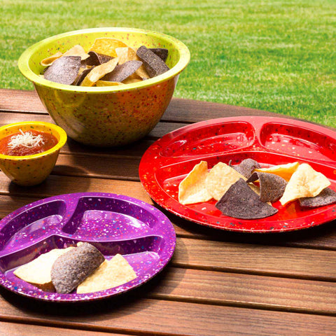 Zak! Designs Confetti Divided BBQ Plate 11-inch, Individual Assorted Colors