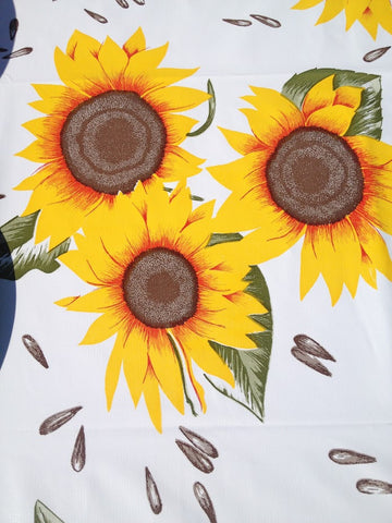 "Adult Oil Cloth Bib 6"" Pocket - WHITE SUNFLOWER & YELLOW TRIM 36"" x 18"""