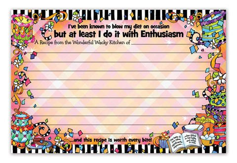 "BrownLow Gifts 4"" x 6"" Recipe Cards, 36 count ~ ENTHUSIASM"