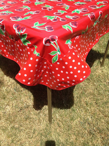 47.5 Oilcloth Tablecloth Square RED CHERRY, WHITE POLKA ON RED, RED TRIM (NO HOLE)