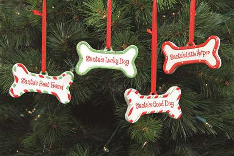 DEI Santa's Lucky Dog, Individual Ceramic Bone Ornament