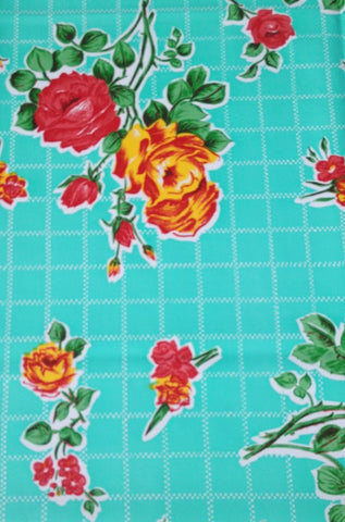 Oil Cloth Makeup Bag ~ AQUA GREEN VINTAGE ROSE / BROWN CHEETAH