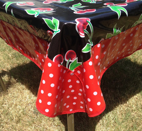 47.5 Oilcloth Tablecloth Square BLACK CHERRY, WHITE POLKA ON RED, RED TRIM (NO HOLE)