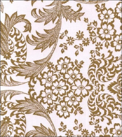 "Adult Oilcloth Bib 25"" x 15"" ~ Gold Toile Lace, Tan Trim"