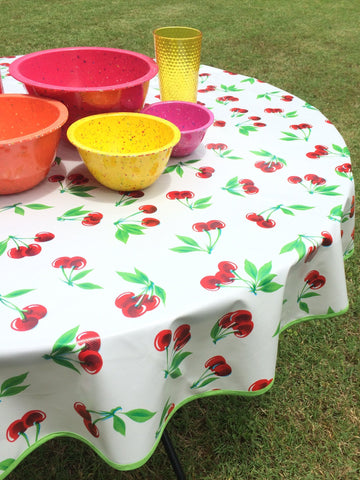 Round Oilcloth Tablecloth WHITE CHERRY Oil Cloth Pattern