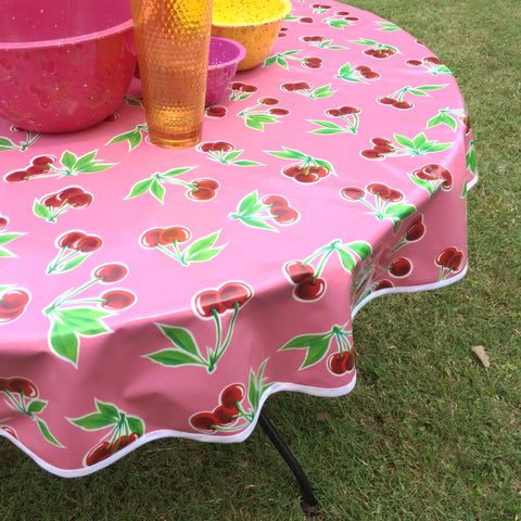 Round Oilcloth Tablecloth PINK CHERRY Oil Cloth Pattern