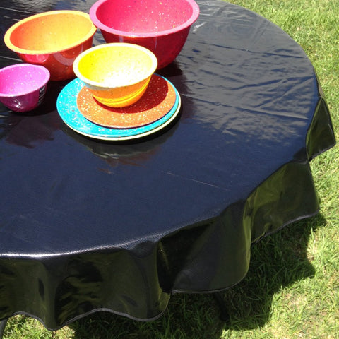 "60"" Round Oilcloth Tablecloth, Solid Black, Black Trim"