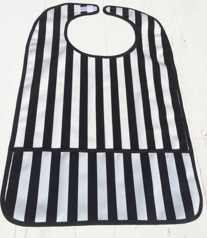 "Oilcloth Adult Bib, Black Stripe 25"" x 16"""