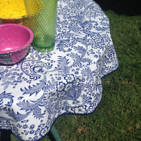 "60"" Round Oilcloth Tablecloth Royal Blue Toile Lace, Blue Trim"