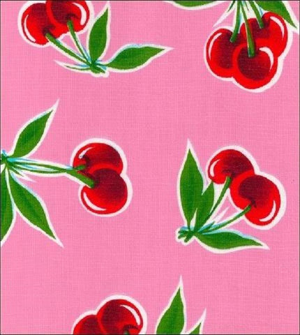 "60"" Round Oil Cloth Tablecloth - PINK CHERRY, WHITE TRIM"